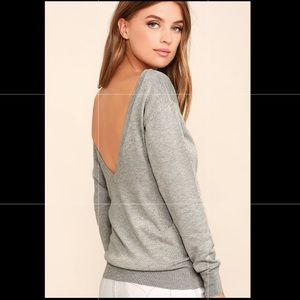 Lulus Me Too Heather Grey Backless Sweater Top